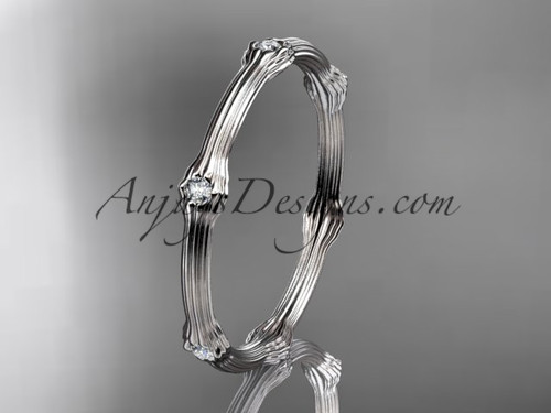 14k white gold diamond vine wedding band, engagement ring ADLR37B