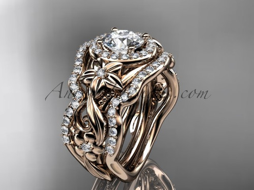 """14kt rose gold diamond unique engagement ring, wedding ring with a """"Forever One"""" Moissanite center stone and double matching band ADLR300"""