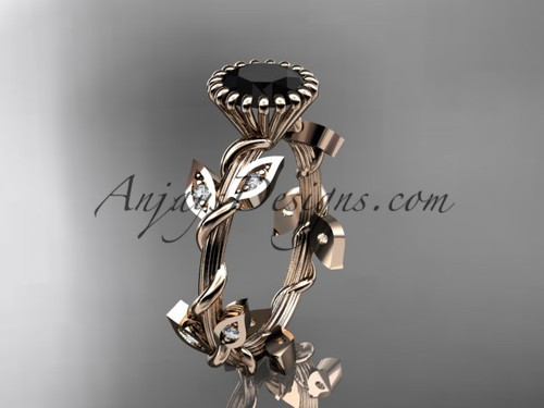 14kt rose gold diamond leaf and vine wedding ring,engagement ring with a Black Diamond center stone ADLR20A