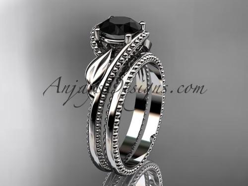 Unique Engagement Ring Platinum Black Diamond Ring ADLR322S