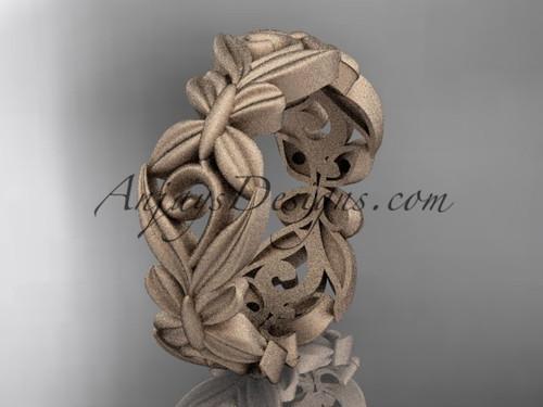 14kt rose gold matte finish leaf and vine, butterfly wedding ring,wedding band ADLR348G