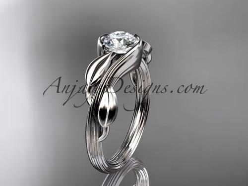 Leaf Engagement Ring 14kt White Gold ADLR273
