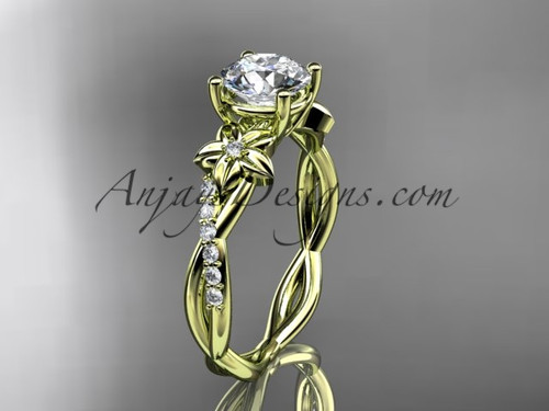 """14kt yellow gold flower diamond  wedding ring, engagement ring with a """"Forever One"""" Moissanite center stone ADLR388"""