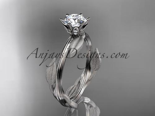 Unique 14k white gold leaf and vine engagement ring, wedding ring ADLR343