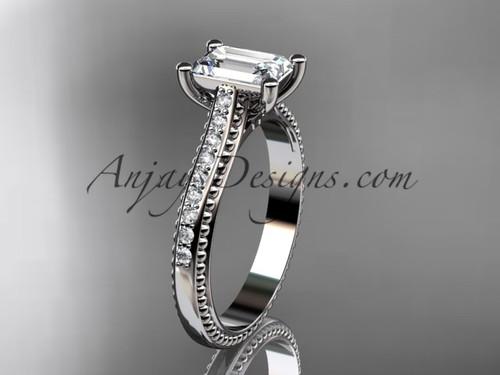 14kt white gold diamond unique engagement ring, wedding ring ADER113