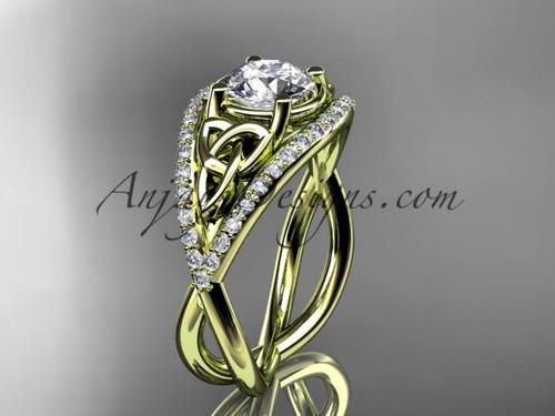 14kt yellow gold celtic trinity knot engagement ring ,diamond wedding ring CT788
