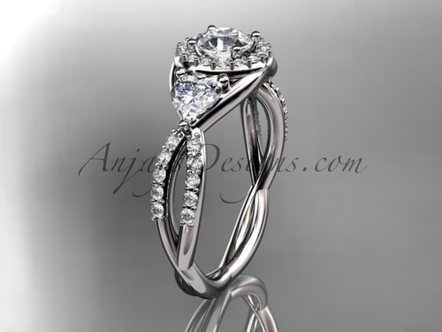 """14kt white gold diamond engagement ring, wedding ring with a """"Forever One"""" Moissanite center stone ADLR321"""