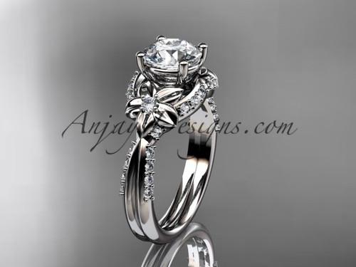 Unique 14kt white gold diamond flower, leaf and vine wedding ring, engagement ring ADLR220