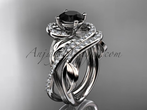 Unique 14kt white gold diamond leaf and vine wedding set, engagement set with a Black Diamond center stone ADLR222S