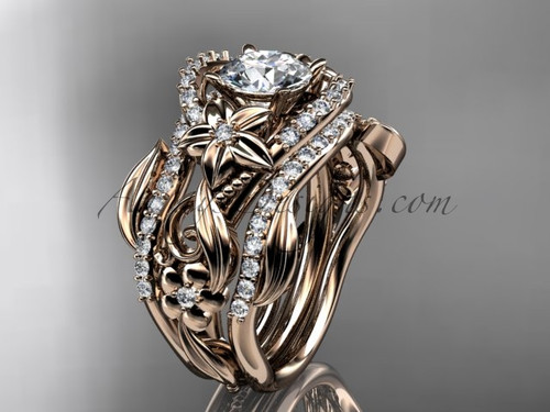 14kt rose gold diamond leaf and vine engagement ring with double matching band ADLR211S