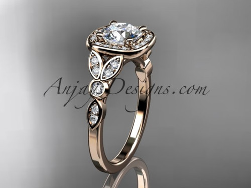 "14kt rose gold diamond leaf and vine wedding ring, engagement ring with a ""Forever One"" Moissanite center stone ADLR179"