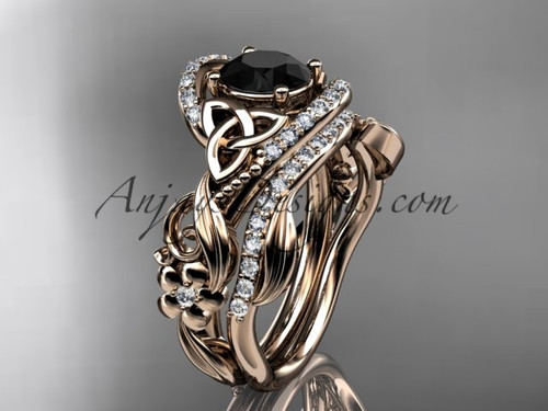 14kt rose gold diamond celtic trinity knot wedding ring, engagement set with a Black Diamond center stone CT7211S
