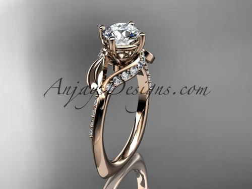 Moissanite Bridal Rings, Rose Gold Leaf Wedding Ring ADLR225