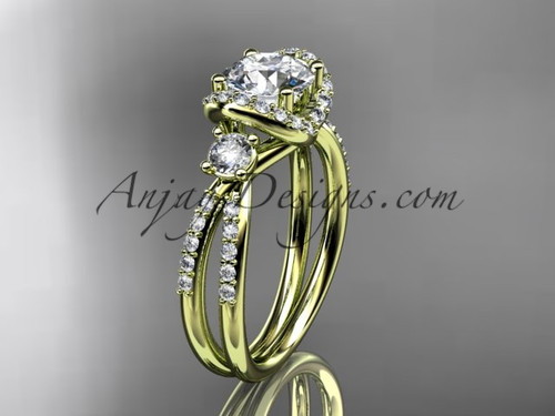 """14kt yellow gold diamond unique engagement ring, wedding ring with a """"Forever One"""" Moissanite center stone ADER146"""
