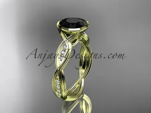 14k yellow gold diamond  wedding ring,engagement ring with  Black Diamond center stone ADLR24