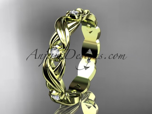 14kt yellow gold diamond leaf and vine wedding ring, engagement ring,wedding band ADLR19