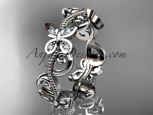 14kt white gold diamond floral butterfly wedding ring, engagement ring, wedding band ADLR138B