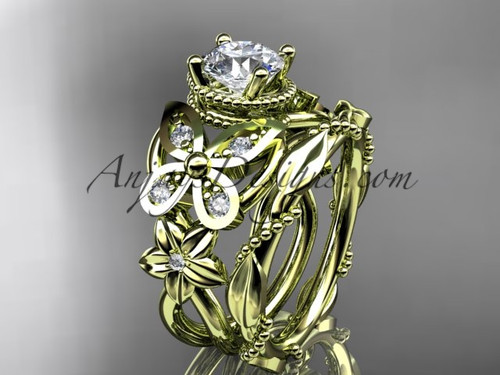 14kt yellow gold diamond floral, butterfly wedding ring, engagement set ADLR136S