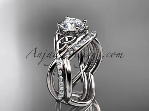 14kt white gold celtic trinity knot engagement set, wedding ring CT790S