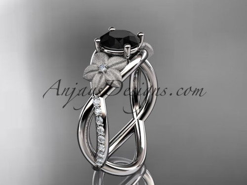 14kt white gold diamond leaf and vine wedding ring, engagement ring with a Black Diamond stone ADLR90