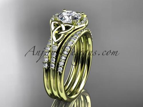 Yellow Gold Diamond Ring, Irish Double Band Ring CT7126S