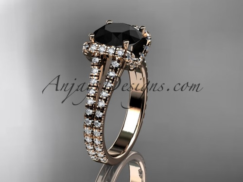 14kt rose gold diamond unique engagement ring, wedding ring with a Black Diamond center stone ADER107