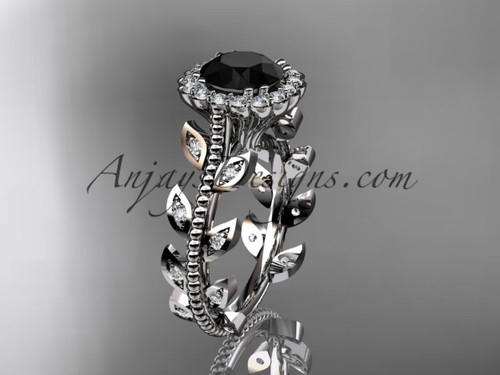 14k white gold diamond leaf and vine wedding ring, engagement ring with a Black Diamond center stone ADLR118