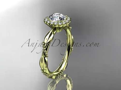 """14kt yellow gold diamond leaf and vine wedding ring, engagement ring with a """"Forever One"""" Moissanite center stone ADLR337"""