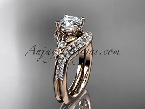 """14kt rose gold diamond leaf and vine engagement ring set with a """"Forever One"""" Moissanite center stone ADLR112S"""