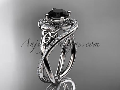 platinum diamond celtic trinity knot wedding ring, engagement ring with a Black Diamond center stone CT7320
