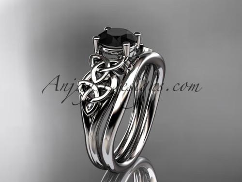 platinum celtic trinity knot wedding ring, engagement set with a Black Diamond center stone CT7169S
