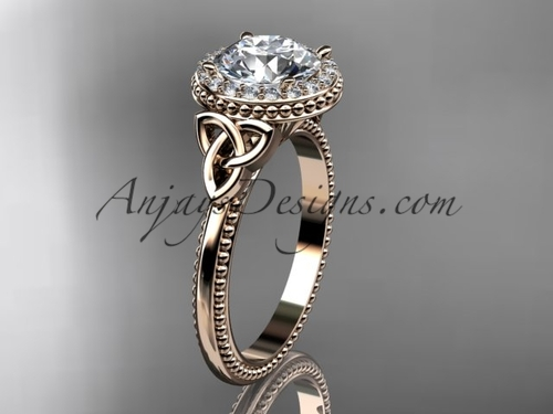 14kt rose gold diamond celtic trinity knot wedding ring, engagement ring CT7157