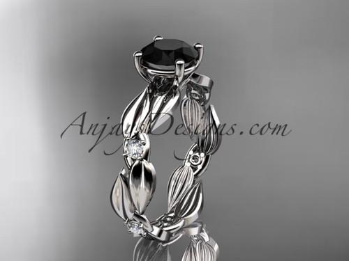 Black Diamond Ring - White Gold Leaf Bridal Ring ADLR58