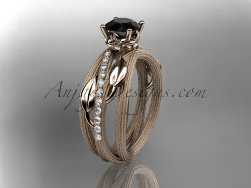 14kt rose gold diamond leaf and vine wedding ring, engagement ring with a Black Diamond center stone ADLR329