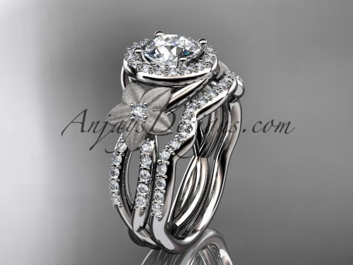 """platinum diamond floral wedding ring, engagement set with a """"Forever One"""" Moissanite center stone ADLR127S"""