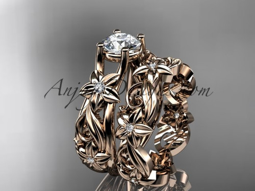 "14k rose gold diamond floral wedding set, engagement set with a ""Forever One"" Moissanite center stone ADLR216S"