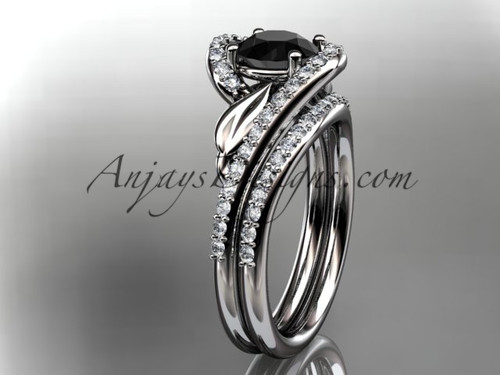 14k white gold diamond leaf and vine wedding ring, engagement set with a Black Diamond center stone ADLR317S