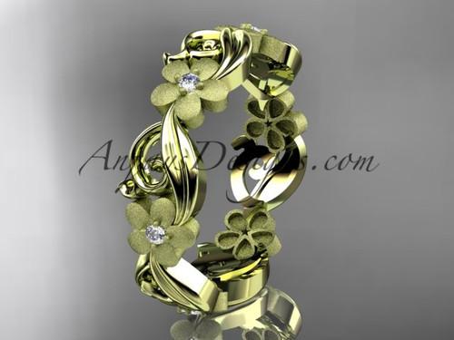 14kt yellow gold diamond flower wedding ring, engagement ring, wedding band ADLR191B