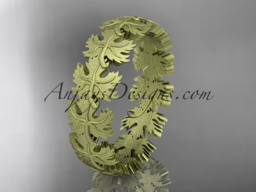 14kt yellow gold diamond maple leaf and vine wedding ring, engagement ring, wedding band ADLR40B
