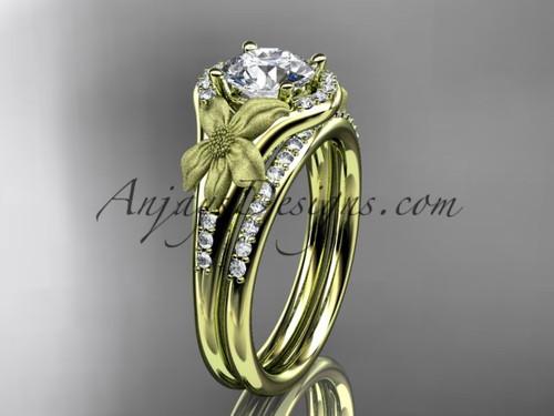 14kt yellow gold diamond leaf and vine wedding ring, engagement set ADLR91S