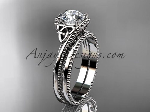 "14kt white gold celtic trinity knot wedding ring, engagement set with a ""Forever One"" Moissanite center stone CT7322S"