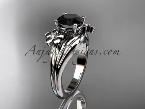 14k white gold diamond leaf and vine wedding ring, engagement ring with a Black Diamond center stone ADLR159