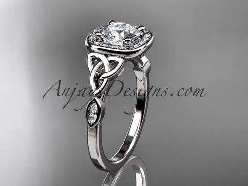 """14kt white gold diamond celtic trinity knot wedding ring, engagement ring with a """"Forever One"""" Moissanite center stone CT7179"""