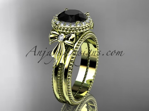14kt yellow gold diamond unique engagement set, wedding ring with a Black Diamond center stone ADER157S