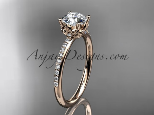 "14kt rose gold diamond floral wedding ring, engagement ring with a ""Forever One"" Moissanite center stone ADLR92"