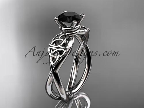 Celtic Black Diamond White Gold Wedding Ring CT770