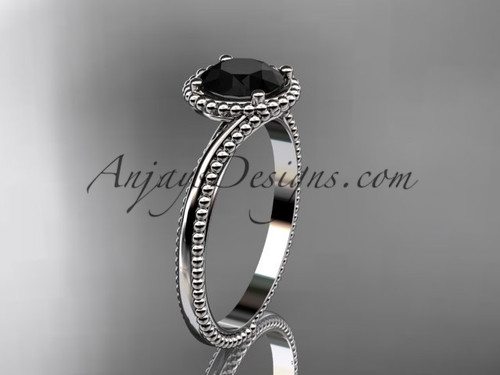 14kt white gold  wedding ring, engagement ring with a Black Diamond center stone ADLR389