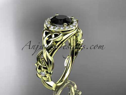 Yellow Gold Black Diamond Celtic & Flower Bridal Ring CT7300