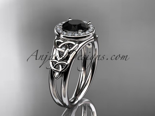 14kt white gold diamond celtic trinity knot wedding ring, engagement ring with a Black Diamond center stone CT7131