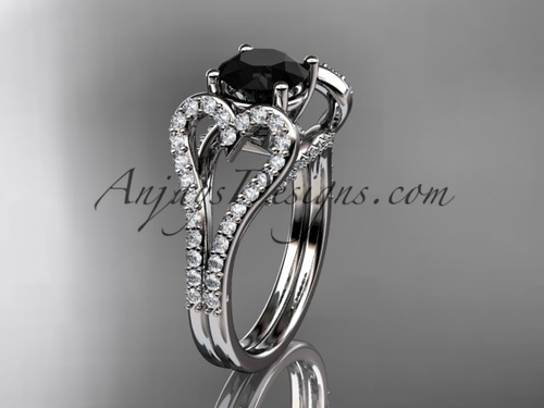 14kt white gold heart  engagement ring, wedding ring with a Black Diamond  center stone ADER395